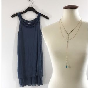 Dresses & Skirts - Tiered Gauzy Sheath w/Ribbon Eyelet Neckline